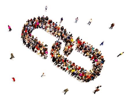 체인 링크를 형성하는 사람들의 큰 그룹입니다. 성공, 단결, 힘의 개념. 스톡 콘텐츠