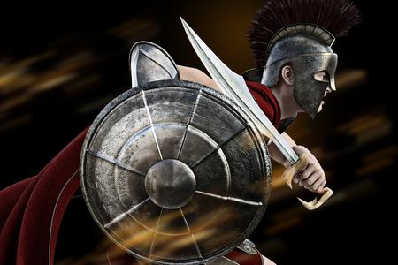cascos romanos: cargo espartano, guerrero espartano en Battle atacante vestido. Foto realista escena de modelos 3D.