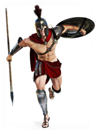 escudo: Spartan cargo, ilustración integral de un guerrero espartano en Battle atacante alineada en un fondo blanco. Foto realista escena de modelos 3D.