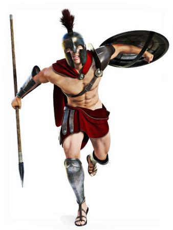 ancient rome: Spartan charge , Full length illustration of a Spartan warrior in Battle dress attacking on a white background. Photo realistic 3d model scene.