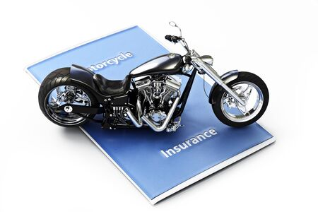 motorist: Motorcycle insurance concept. Generic black custom motorcycle sitting on a insurance brochure. Photo realistic 3d model scene on an isolated white background. Stock Photo