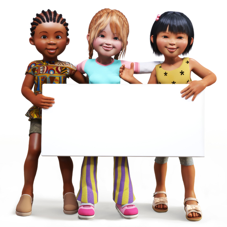 room for your text: Three girls holding up a empty sign white board with room for your text or copy space advertisement on a white background Stock Photo