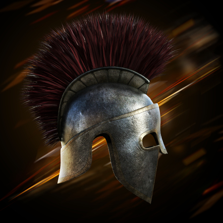 hardship: Spartan helmet with an abstract light ray black background.