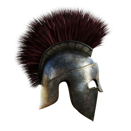 hardship: Spartan helmet on an isolated white background.