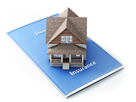 background house: Home insurance concept . House sitting on an insurance brochure with a white background.