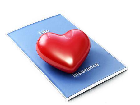 Pojęcie ubezpieczenia na życie. Serce siedzi na broszurze ubezpieczeń na życie z białym tłem.