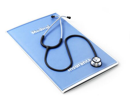 medical bills: Medical insurance concept. Stethoscope sitting on a medical brochure on a white background.