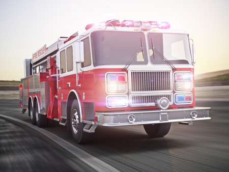 Fire truck running with lights and sirens on a street with motion blur. Photo realistic 3d model scene.