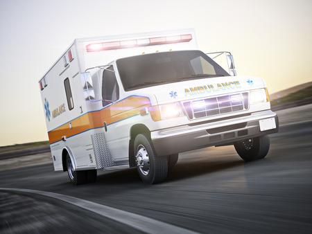 Krankenwagen laufen mit Lichtern und Sirenen auf einer Straße mit Bewegungsunschärfe. Fotorealistische 3D-Modell-Szene.