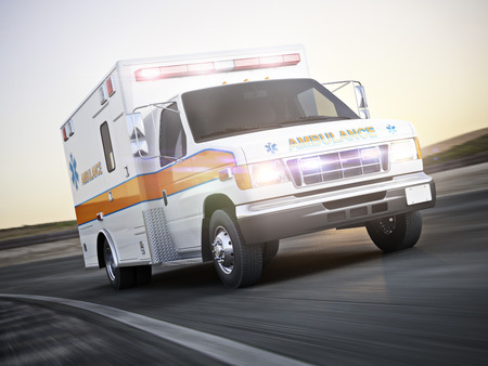 Ambulance running with lights and sirens on a street with motion blur. Photo realistic 3d model scene. Standard-Bild