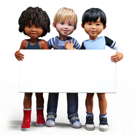 children holding hands: Three boys holding up a empty sign white board with room for your text or copy space advertisement on a white background.