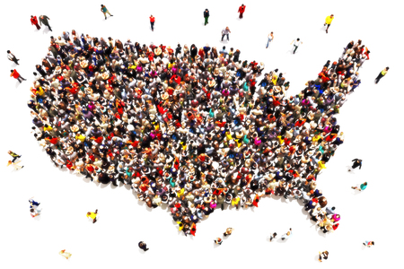 large crowd of people: People coming to America concept. Large group of people forming the United States of America. Immigration, travel, visiting, refugee, integration concept.