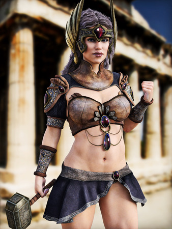 sexy girl nude: Female Goddess of war posing in front of Greek architecture . Photo realistic 3d model scene. Stock Photo