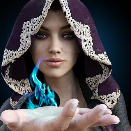 feiticeira com o azul mágico vindo de sua mão em um fundo preto do inclinação.