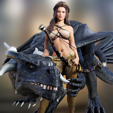 Hunter reine et son dragon. Belle femme guerrière posant avec son dragon mystique et l'arc sur un fond flou. Photo réaliste modèle de scène 3d.