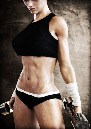 strenuous: Cross fit female with a candid pose with weights after a strenuous workout. Photo realistic 3d model scene.