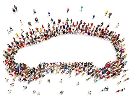 Renting: Purchasing or renting a car ,ownership, or renting concept.Large group of people in the shape of a car with room for text or copy space advertisement isolated on a white background.