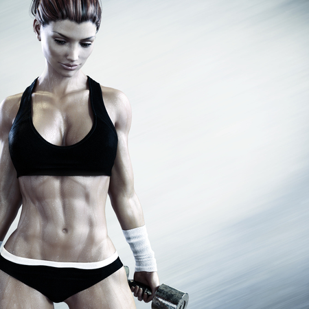 strenuous: Cross fit female with a candid pose with weights after a strenuous workout with room for advertisement text or copy space. Photo realistic 3d model scene.