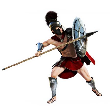 Spartan in action.Full lengte illustratie van een Spartaanse krijger in Battle jurk op defensief op een witte achtergrond. Fotorealistische 3D-model scene. Stockfoto