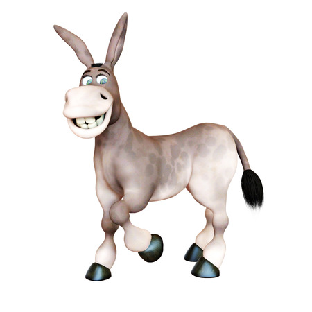 cuteness: 3d rendered illustration of Donkey smiling funny cartoon character isolated on a white background. Stock Photo