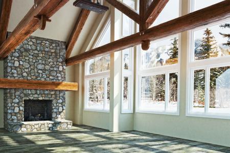 벽난로와 겨울 경치를 배경으로 고급스러운 오픈 바닥 빈 객실 인테리어 디자인. 사진 사실적인 3D 모델 장면 스톡 콘텐츠