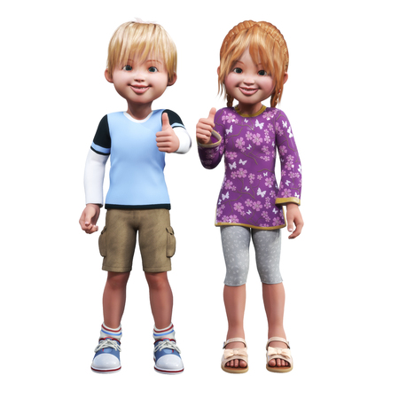 smart boy: Confident Boy and girl cartoon holding a thumbs up of approval on an isolated white background.
