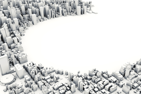 room for text: Architectural 3D model illustration of a large city on a white background with a cut out circle with room for text or copy space. Stock Photo