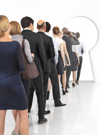key hole: Business key to success concept. Group of business people with different ethnicity and gender walking to a key hole doorway . Stock Photo