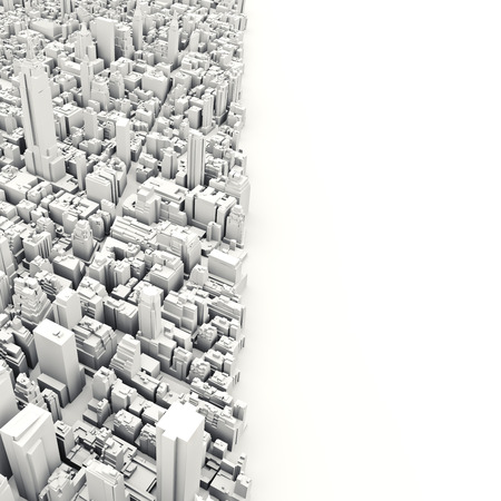 room for text: Architectural 3D model illustration of a large city on a white background with room for text or copy space. Stock Photo