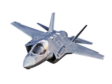 Schuin oog op een F35 straalvliegtuigen die op een witte achtergrond.