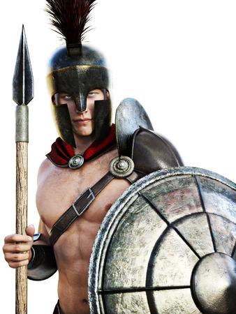 Soldat Spartan en tenue de combat isolé sur un fond blanc. Banque d'images - 55265484