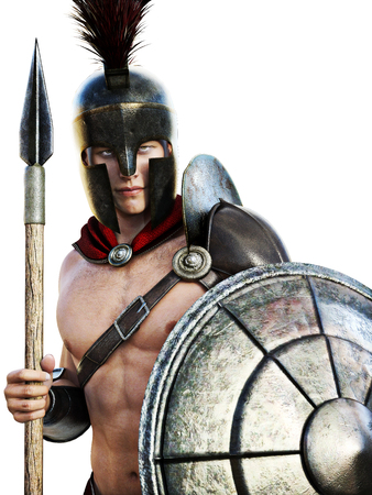 Spartan soldier in battle dress isolated on a white background.