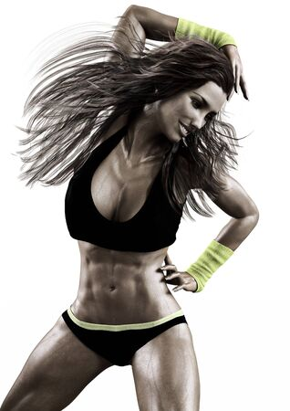 One Caucasian woman exercising fitness zumba dancing on a white background.Photo realistic 3d model scene.