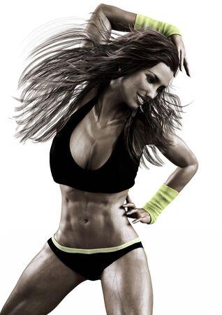 gimnasia aerobica: Una mujer de raza caucásica de fitness ejercicio de baile zumba en una escena modelo background.Photo blanco 3d realista.