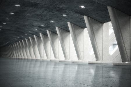 futuristic interior: Modern futuristic empty abstract interior. Photo realistic 3d model scene.
