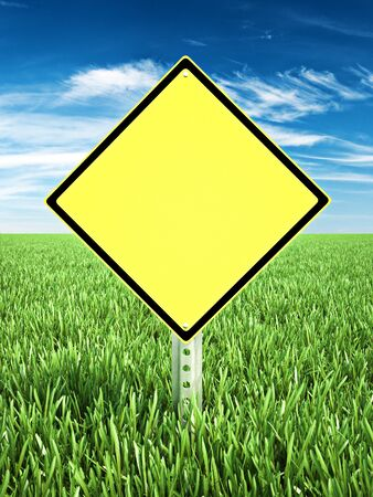 Yellow caution themed sign placed in a field of grass with room for text or copy space. Photo realistic 3d rendering 写真素材