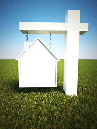 room for text: Real estate sign in the shape of a house with a sky background and room for text or copy space. Photo realistic 3d model scene