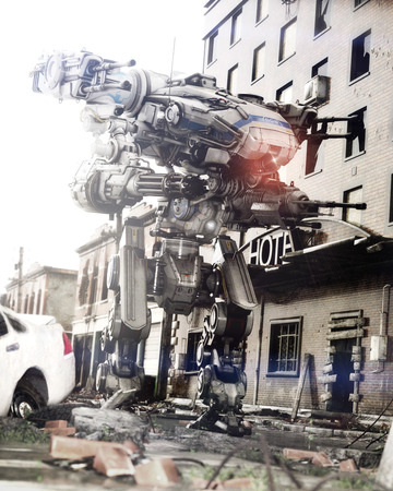 Robot Futuristic Mech weapon with full array of guns in a city of ruins. Photo realistic 3d rendering Archivio Fotografico