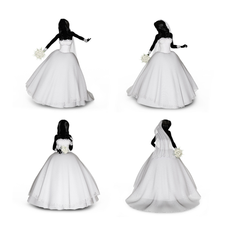 transparent dress: 3d rendering of a woman in various poses in a wedding dress on a white isolated background.
