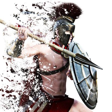 guerrero: ataque espartano, ilustración de un Warr Spartan en Battle atacante alineada en un fondo blanco con efecto de la salpicadura. Foto 3D realista escena de representación de modelo