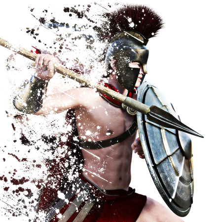 spear: Spartan attack,illustration of a Spartan warrior in Battle dress attacking on a white background with splatter effect. Photo realistic 3d model rendering scene