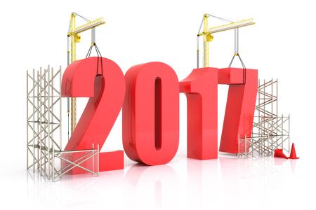 Jahr 2017 Wachstum, Gebäude, Verbesserung in der Wirtschaft oder im allgemeinen Konzept im Jahr 2017 auf einem weißen Hintergrund Lizenzfreie Bilder