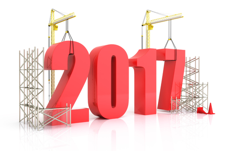 Jahr 2017 Wachstum, Gebäude, Verbesserung in der Wirtschaft oder im allgemeinen Konzept im Jahr 2017 auf einem weißen Hintergrund Lizenzfreie Bilder - 57417969