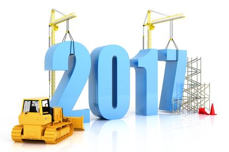Jaar 2017 de groei, de bouw, de verbetering in het bedrijfsleven of in het algemeen begrip in het jaar 2017 op een witte achtergrond