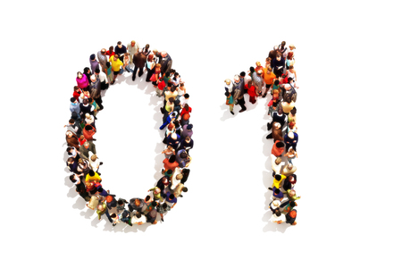 3 차원 숫자 0 (영) 및 흰색 배경에 한 (1) 상징으로 모양을 형성하는 사람들. 3D 렌더링