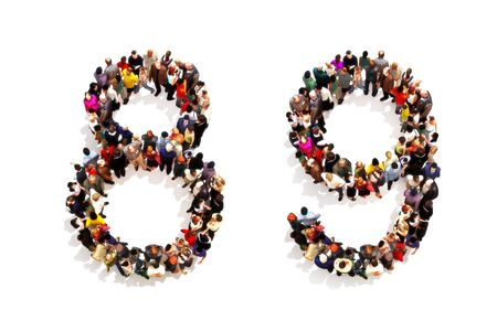People forming the shape as a 3d number eight (8) and nine (9) symbol on a white background. 3d rendering Stock Photo