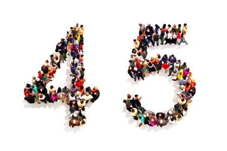 3 차원 숫자 네 (4)와 흰색 배경에 5 상징으로 모양을 형성하는 사람들. 3d 렌더링 스톡 콘텐츠
