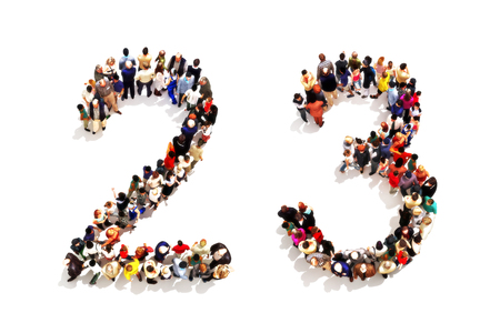 People forming the shape as a 3d number two (2) and three (3) symbol on a white background. 3d rendering Foto de archivo