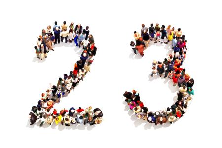 Mensen die de vorm als 3D nummer twee (2) en drie (3) symbool op een witte achtergrond. 3D-rendering Stockfoto