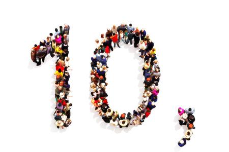 3d 숫자 10 (10) 및 흰색 배경에 쉼표 기호로 셰이프를 형성하는 사람들. 3d 렌더링입니다. 대체 숫자 1 또는 0으로 사용할 수있는 숫자 계열의 일부